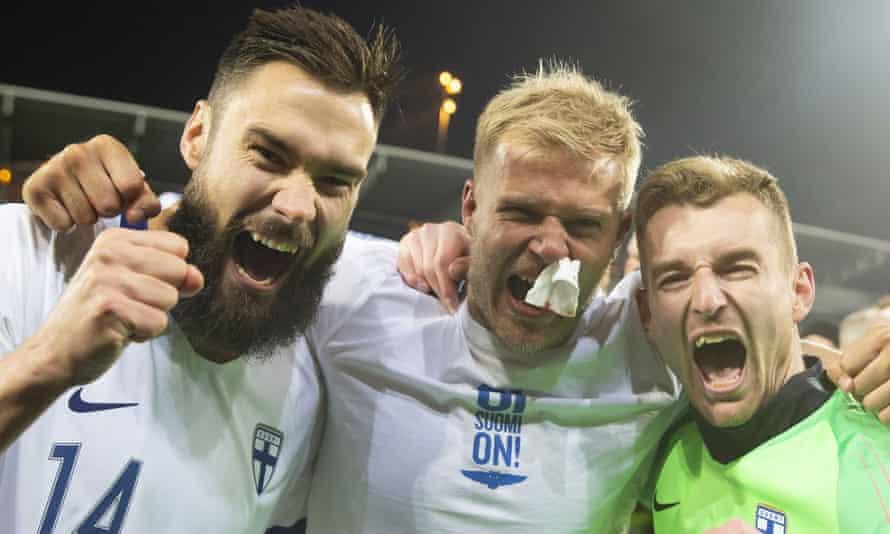 Tim Sparv, Paulus Arajuuri and Lukas Hradecky lead the celebrations