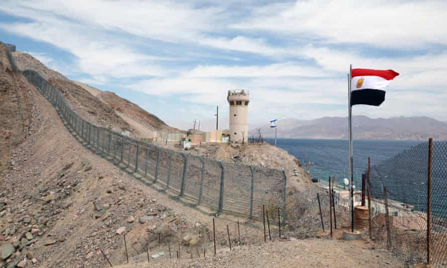 The border between Egypt and Israel in the Red Sea resort town of Taba.