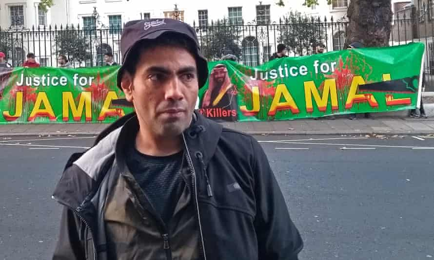 Ghanem Almasarir in front of a protest outside the Saudi Arabian embassy in west London on 24 October 2018.