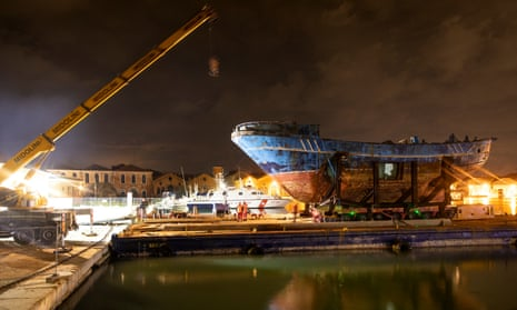 The boat was brought to Venice from the Melilli naval base in Sicily