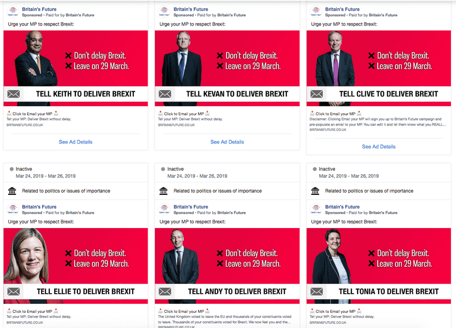 Facebook adverts placed by Britain's Future and targeted at voters in Labour constituencies, urging them to contact their MPs and demand a hard Brexit.