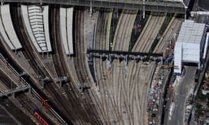 Picture taken on 27 August of platform extension work at Waterloo station