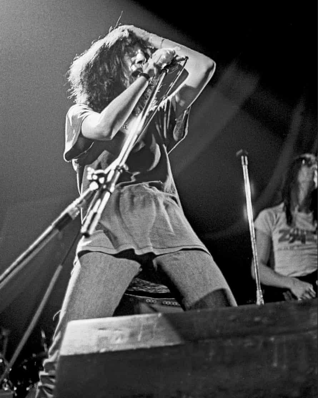 Patti Smith live at London's Hammersmith Odeon, October 1976. (Photo by Dick Barnatt/Redferns)
