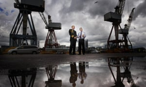 Liam Fox (right) with the Second Sea Lord on a visit to the BAE Systems shipyard in Glasgow in 2011