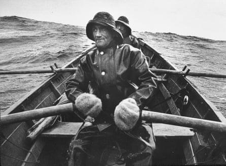 Nova Scotia fishermen at sea off Grand Banks.