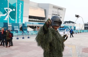 This green camouflage outfit won't work too well in the South Korean snow – or at the Gangneung Olympic Park