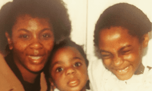 Ysra Daley-Ward as a toddler with her mother and brother.