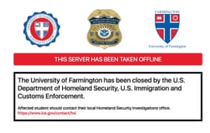 The University of Farmington website has been shuttered by Ice.