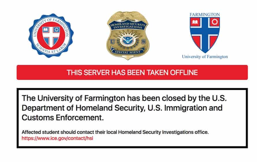 Fake University of Farmington shuttered by Ice.