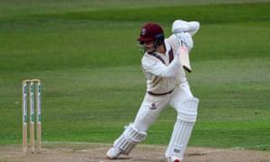 Tom Abell batting for Somerset against Nottinghamshire.