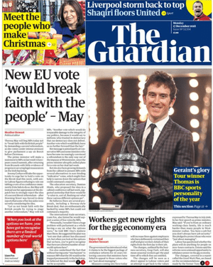 The Guardian front page, Monday 17 December 2018