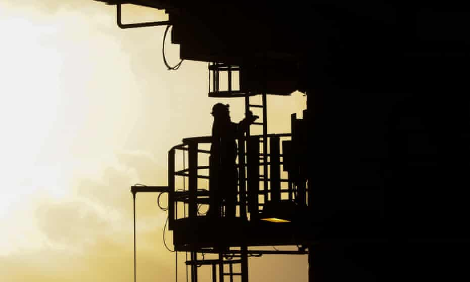 A worker on the Armada gas condensate platform in the North Sea, 2015