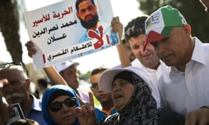 Maazouzeh Allan protests against potential force-feeding of her son Mohammed in Beersheba