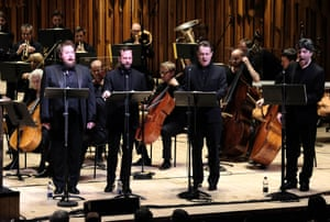 Allan Clayton, Peter Tantsits, Mark Stone and Joshua Bloom at the Barbican.