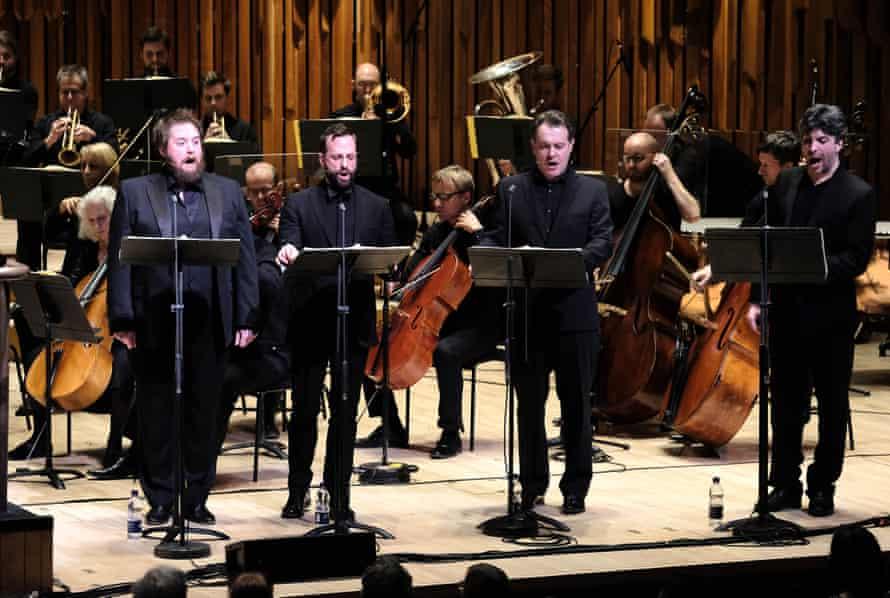Allan Clayton, Peter Tantsits, Mark Stone and Joshua Bloom at the Barbican.