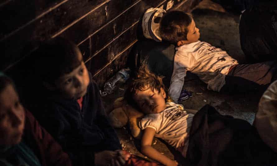 Treacherous journey … refugee children in Athens.
