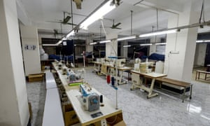 An empty garment factory on the outskirts of Bangladesh's capital, Dhaka, in April.