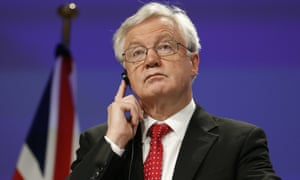 David Davis, the Brexit secretary, at a press conference in Brussels where a lack of progress over talks was revealed.