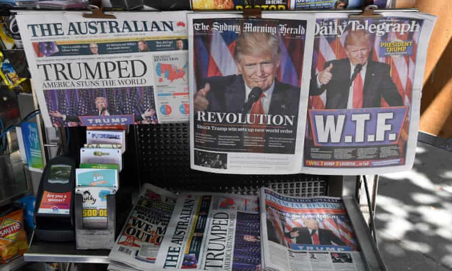 Newspapers in Sydney the day after Trump's win