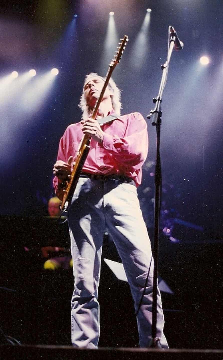 Mark Knopfler at the Forum in Inglewood, Los Angeles, during Dire Straits' last US tour.