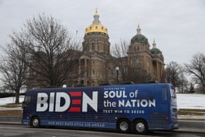 The campaign bus for Joe Biden is seen parked in front of the Iowa State Capitol.