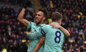Pierre-Emerick Aubameyang celebrates scoring the winning goal.