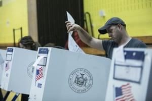 Voters cast their ballots during the midterm election at the High School Art and Design polling station in Manhattan, New York, United States