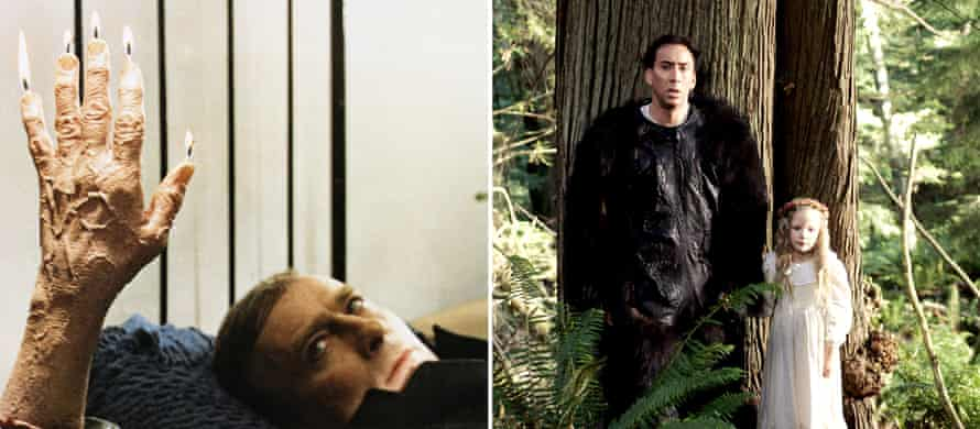 Mangled … Edward Woodward, left, in The Wicker Man, 1973, and Nicolas Cage in the 2006 remake.