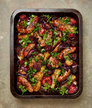 Yotam Ottolenghi's sticky sweet and sour plums, onions and sausages.
