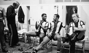 Cyrille Regis and team mates in the dressing room after Albion's 1-1 draw against Valencia in the UEFA Cup in 1978.