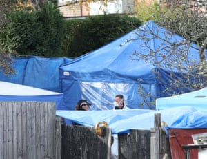 Forensics tents in the garden on Shipton Road in Sutton Coldfield.