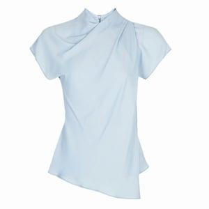 pale blue short sleeved wrap effect blouse