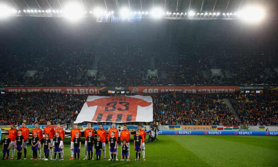 Shakhtar Donetsk fans show their appreciation for the captain Darijo Srna during home leg of the Europa League tie against Braga.