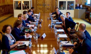 John Kerry, third from right, and Boris Johnson, fourth from left, at meeting in London to discuss Libya