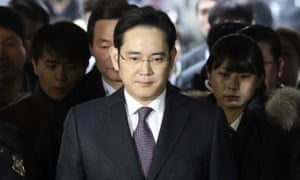 Lee Jae-yong arrives for a hearing at the Seoul central district court in January.