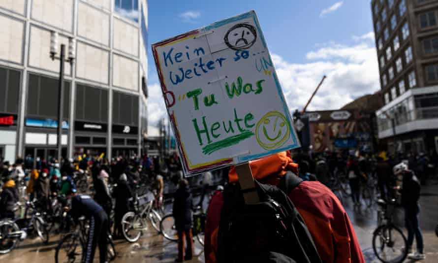 Environmental activists protest in Berlin in March 2021