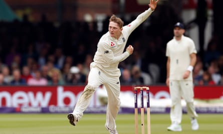 England's Dom Bess in action in the first Test against Pakistan.