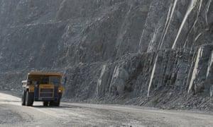 Trucks in zinc mine