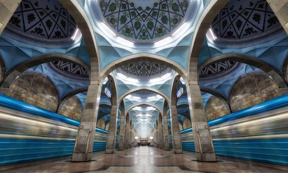 Superlative subway … ornate architecture at a station on the Tashkent metro.