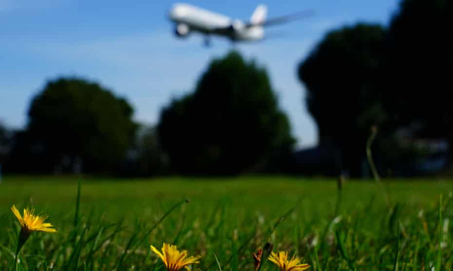 green field with airline taking off in background