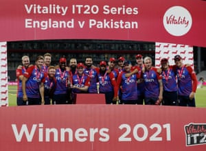 England team celebrate winning the match and the series.