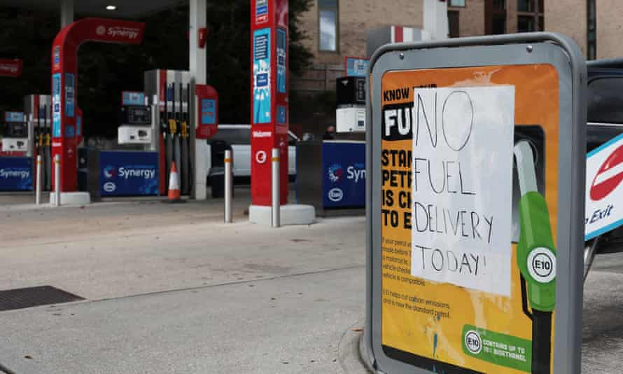 A petrol station without fuel in Winchester town centre.