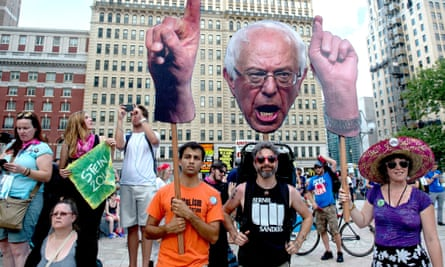 Pro-Bernie Sanders and Green party candidate Jill Stein supporters rally outside city hall during the Democratic national convention in late July.