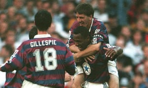 Peter Beardsley celebrates with Les Ferdinand during Newcastle's comfortable win at Bolton.