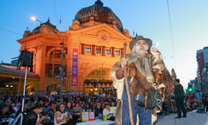 Gary Murray, chairman of the Northwest Region Aboriginal Cultural Heritage Board and a member of the Dja Dja Wurrung nation speaks as protesters stage a sit down protest outside Flinders Street Station in Melbourne on Friday.