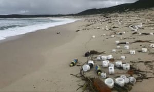Waves of debris have today washed up on beaches near Port Stephens, north of the New South Wales Central Coast, after 83 metal containers fell off a freight ship on Friday night.