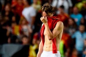 Croatia's midfielder Luka Modric looks crestfallen.