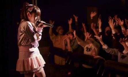 Pop idols ... Rio Hiiragi performs.