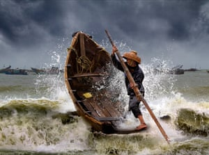 Braving the storm - Dianbai fishing village China