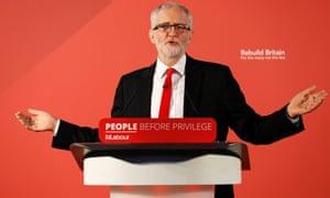 Jeremy Corbyn speaking in Northampton on Thursday